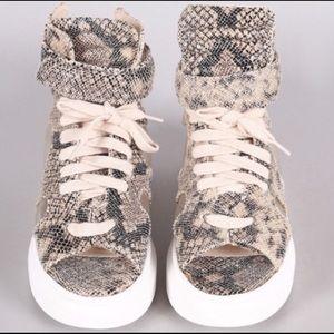 Shoes - LAST PAIR LEFT High Top Python Sneaker w/ Peep Toe